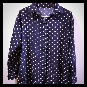 Tops - White Polka Dot Button Down Dress